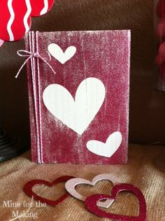 Mine for the Making: Glittery Heart Block. # DIY # Valentine's decor