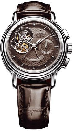 Zenith Chronomaster Brown Dial Leather Strap Automatic Power Reserve Mens Watch 030240402175C496