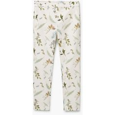 MANGO Printed Cotton Trousers ($60) ❤ liked on Polyvore featuring pants, bottoms, trousers, jeans, mango trousers, white cotton pants, white pants, white trousers and mango pants