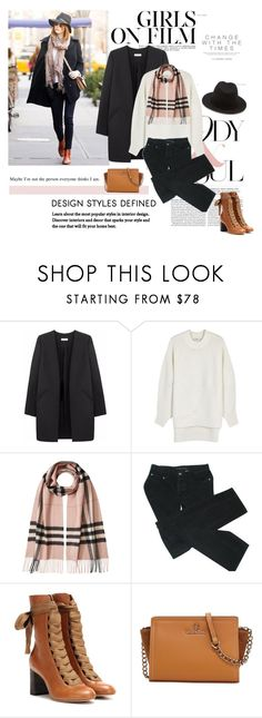 """""""Get the look"""" by polyandrea ❤ liked on Polyvore featuring Non, DKNY, Burberry, Marc by Marc Jacobs, Chloé, Mario Valentino, Forever 21, GetTheLook and EmmaStone"""