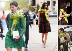 STYLE - Gio Battaglia and the Hermès GM Shawl | Paperoles casually draped and smartly paired first with  a beautiful chocolate (yummy!) brown Valentino leather-and-lace strapless number (gorgeous way to keep warm :)) at the Paris FW [Dec 2011]  then a drop-dead gorgeous kelly-green lace dress [Oct 2012]