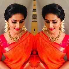 Image may contain: 2 people Bridal Hair Buns, Bridal Hairdo, Hairdo Wedding, Bridal Makeup Pictures, Traditional Hairstyle, Traditional Outfits, Saree Hairstyles, Reception Gown, Baby Girl Dress Patterns