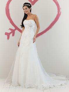 Romantic Organza Strapless A-line Summer Wedding Dress Beaded Lace