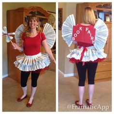 """Book Fairy Costume - Cut out pages from dictionary. Fan fold several sheets together & hot glue to & around belt sized ribbon. Repeat until you achieve desired look. Use dictionary cover to build the wings. Adhesive felt letters are used to spell out """"Book Fairy"""" Add pages by hot gluing to the inside the cover. Hot glue 2 lengths of elastic long enough to go around shoulders. Repeat the fan folding to create a wand on a wooden dowel. Add a red tutu for more fluff."""