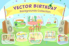 Vector Birthday Backgrounds Collection   GraphicMama Birthday Party At Home, Easter Backgrounds, Colorful Birthday, Birthday Background, Vector Background, Vector File, Design Bundles, Pattern Design, Cartoon