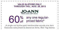 JoAnn Fabrics- Get 60% Off Any One Regular Priced Fabric w/ Printable Coupon (Exp. 8/29) | SassyDealz.com