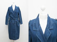 Brand: P.T.A.   Material: cotton.   Color: blue jeans.   Condition: great vintage condition.  Size: label indicates 36.    MEASUREMENTS  length : 122 cm/ 48.03 in  bust : 120 cm / 47.24 in  sleeve from the armpit : 45 cm / 17.72 in  Shoulder seam to seam : 61 cm / 24.02 in