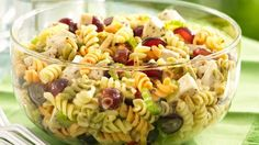 pasta salad with chicken, grapes and poppy seed dressing