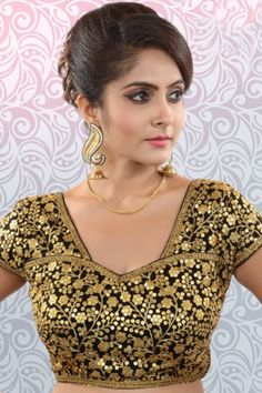 #Black & #gold silk #amazing #blouse with glass neck -BL809