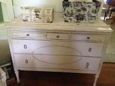 Peaches and Cream Distressed Antique Dresser. See more at: facebook.com/lunarosedesigns