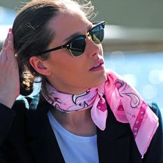 Your BFF: pink silk-cotton bandana by www.annetouraine.com