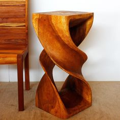 Hand-carved 14 x 30 Golden Oak Oiled Double Twist Stool (Thailand) - Overstock Shopping - Big Discounts on Haussmann Stools Monkey Pod Wood, Sofa End Tables, Golden Oak, Acacia Wood, Types Of Wood, Wood Colors, Wood Table, Accent Pieces, Modern Contemporary