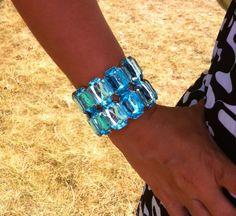 Blue Bling stretch bracelet with silver!!!  $16.00  www.ssuniquejewelry.com