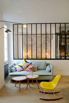 Cladding bricks and exposed bricks – loft interiors - Home Page Loft Design, House Design, Design Salon, Design Design, Ikea Soderhamn, Söderhamn Sofa, Light Blue Sofa, Glass Room Divider, Style Loft
