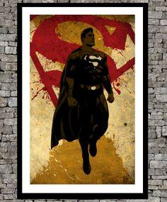 Superman - wall illustration movie art comics poster vintage book page - Antique paper minimalist art movie print poster.