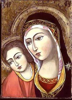 The Virgin with child. Painter - Ivanka Kortzanova (Original old master's technology and materials) based on an 18th century Bulgarian work.