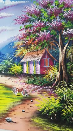 Flamboyant tree painting dominican art colorful canvas oil