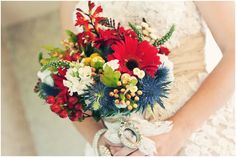 Red, White & Blue Wedding Bouquet - the blue & red is the restaurant...