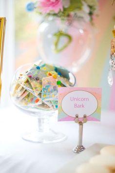 b5dd7e38863 White chocolate unicorn bark from a Floral Rainbow Glam Unicorn Birthday  Party on Kara s Party Ideas