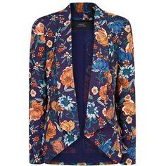 Mango Floral Print Blazer, Bright Orange (120 BRL) ❤ liked on Polyvore featuring outerwear, jackets, blazers, coats & jackets, chaquetas, blue floral blazer, lightweight blazer, floral jacket, short-sleeve blazers and blazer jacket