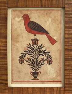 """Realized Price: $ 4977  Pennsylvania watercolor on paper fraktur bookplate, 19th c., with a red bird perched on a tulip tree arising from a striped urn, 4 3/4"""" x 3""""."""
