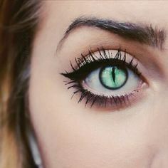 Would make awesome cat eyes lenses green love it halloween makeup fashion style                                                                                                                                                     More