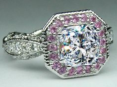 Square Radiant Diamond Vintage Pave engagement ring Pink halo EST2