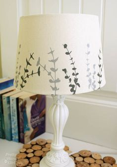 Painted Lampshade on Pinterest   Painted Lamp Shades, Burlap Lamp ...