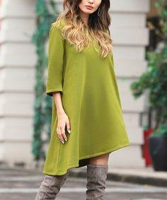4fae76a4307  16.99 Olive Fleece Asymmetrical-Hem Shift Dress - Women  amp  Plus   zulilyfinds
