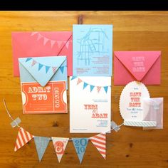 Red, pink & blue vintage inspired invites and save the dates