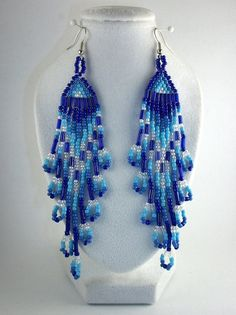 Brick Stitch Earrings  Waterfall by TheSleepingStar on Etsy, $15.00