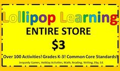 $3 $3 $3!! What a DEAL! Common Core Standard Activities for grade K-3 Jeopardy Games, Holiday Activities, Math, Reading, Writing, Gym