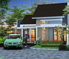 Model Gambar Rumah Minimalis Type 45 13 Type 45, Modern Bungalow, Simple House, Minimalist Home, Exterior Design, Modern Architecture, Townhouse, Beautiful Homes, House Plans