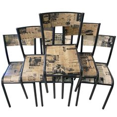 Set of 4 Vintage Decoupage Metal Chairs