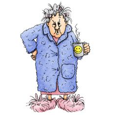 Our favorite gal, Maude with her morning coffee. See larger images and Old Lady Cartoon, Old Lady Humor, Art Impressions Stamps, Funny Cards, Digital Stamps, Old Women, Illustrations, Funny Pictures, Clip Art