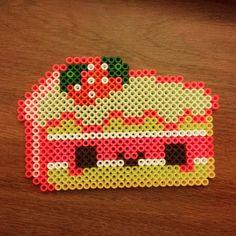 Kawaii strawberry shortcake perler beads by rocket_town_crafts