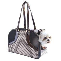 Petote Roxy Pet Carrier Bag Noir Dots Large