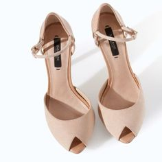 HIGH HEEL SANDALS WITH ANKLE STRAP AND PLATFORM from Zara #prom #beige #nude #heels #platforms