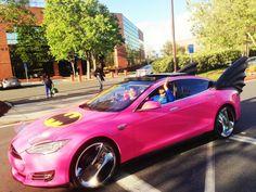 Sergey Brin's Tesla was Turned into a Pink Batmobile with Eyelashes as an April Fools' Prank Google Co, Batman Car, Batman Logo, Google Glass, Hot Rides, Batmobile, Batgirl, Batwoman, Hot Cars