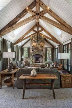 Whimsical lakeside cottage retreat with cozy interiors on Lake Keowee THIS CEILING. Not the decor so much. Whimsical lakeside cottage retreat with cozy interiors on Lake Keowee - Add Modern To Your Life House Design, Rustic House, Cottage Retreat, Cottage Interiors, Cozy Interior, Rustic Living Room Design, Lake House, Lake House Interior, Lakeside Cottage