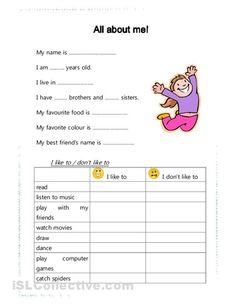 All about me! worksheet – Free ESL printable worksheets made by teachers All about me! worksheet – Free ESL printable worksheets made by teachers Learning English For Kids, English Worksheets For Kids, English Lessons For Kids, Kids English, 1st Grade Worksheets, English Activities, Kindergarten Worksheets, Teaching English, Learn English