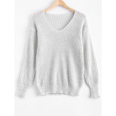 V Neck Oversized Sweater ($30) ❤ liked on Polyvore featuring tops, sweaters, over sized sweaters, oversized tops, v neck sweater, v-neck sweater and white sweater