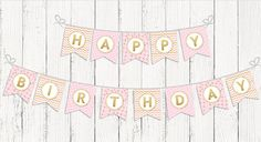 INSTANT DOWNLOAD, Printable Birthday Party Banner, Digital File, Pink and Gold, Happy Birthday, Baby Shower