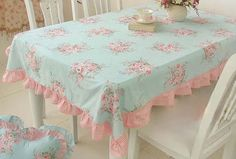 Shabby Chic Cottage Farmhouse Floral Table Cloth Blue Pink Ruffle Cotton Large for sale online Shabby Chic Tablecloth, Tables Shabby Chic, Ruffled Tablecloth, Cottage Shabby Chic, Shabby Chic Mode, Style Shabby Chic, Shabby Chic Bedrooms, Shabby Chic Kitchen, Shabby Chic Furniture