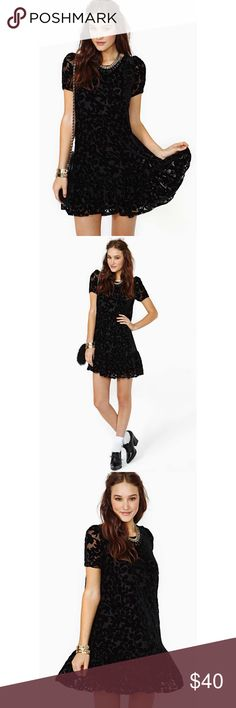 Nasty Gal Shadow Garden Velvet Dress Black velvet floral burnout dress with a drop waist and ruffle hem. Button and keyhole closure at back, loose fit. Fully lined. Never worn! Nasty Gal Dresses Mini