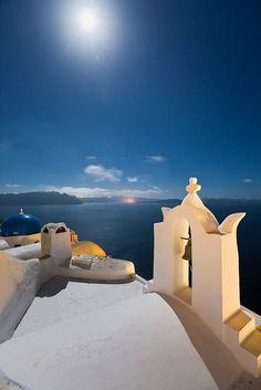Oia churches under the moonlight, Santorini island #Greece