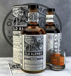 Old Alembic Blended Scotch Whisky on Packaging of the World - Creative Package Design Gallery Whiskey Label, Cigars And Whiskey, Beverage Packaging, Bottle Packaging, Coffee Packaging, Food Packaging, Alcohol Bottles, Liquor Bottles, Booze Drink