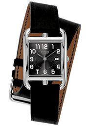 Hermes watches, Hermes Cape Cod watch, Hermes, Hermes Cape Cod Ladies gm Quartz Steel Black Dial Double Tour Barenia Calfskin Strap watch, Timepiece, 11275 ($500-5000) - Svpply