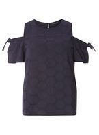 Womens Navy Tie Sleeve Broderie Top- Blue