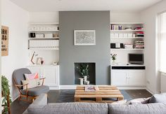 Small Home in Grey Shades // Мъничък дом в сиви нюанси 79 Ideas. I like the grey feature chimney breast in this white lounge with dark floorboards Home Living Room, Apartment Living, Living Room Designs, Living Room Decor, Living Room Without Fireplace, Apartment Ideas, Find Apartment, Alcove Ideas Living Room, Basement Apartment
